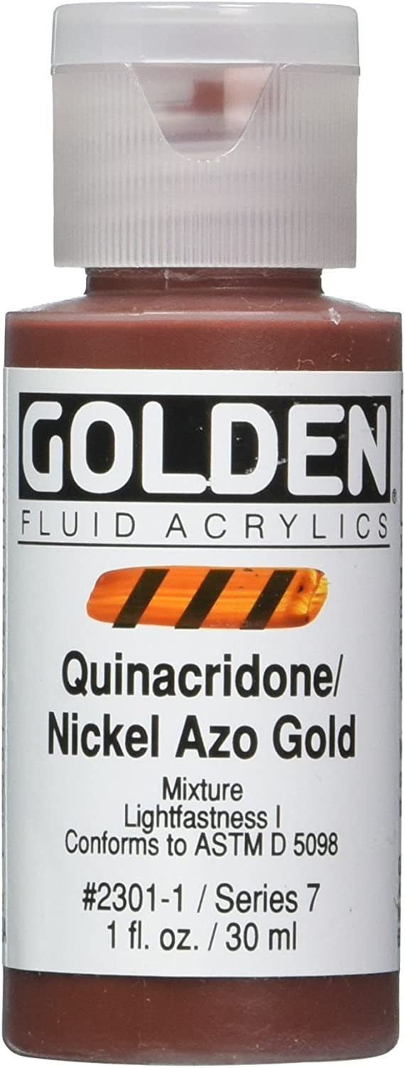 Golden Fluid Acrylic Paint 1 Ounce-Quinacridone Nickel AZO Gold