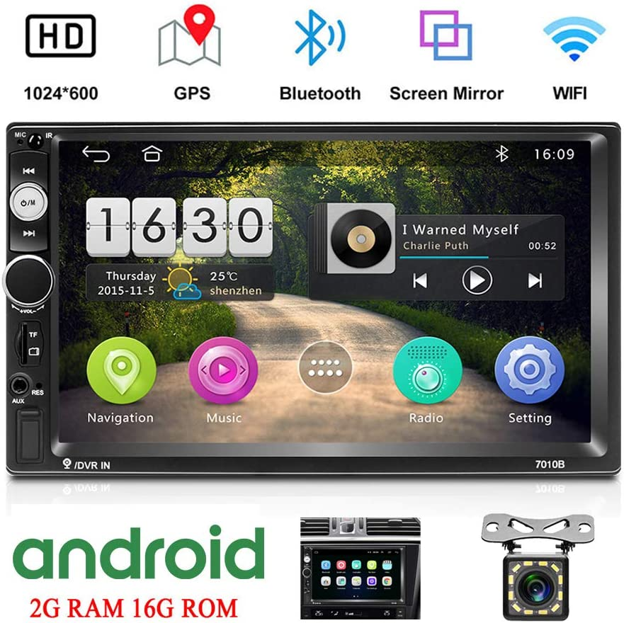 Camecho Android Double Din Car Stereo with 7 HD Touch Screen Head Unit GPS FM Bluetooth USB Radio Support iOS//Android Phones Mirror Link 12 LEDs Backup Camera 1G