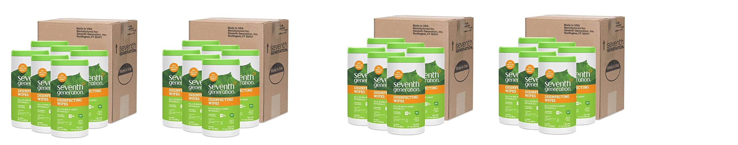 Seventh Generation Disinfecting Multi-Surface Wipes, 70-count Tubs Packaging May Vary (.4 BOX)