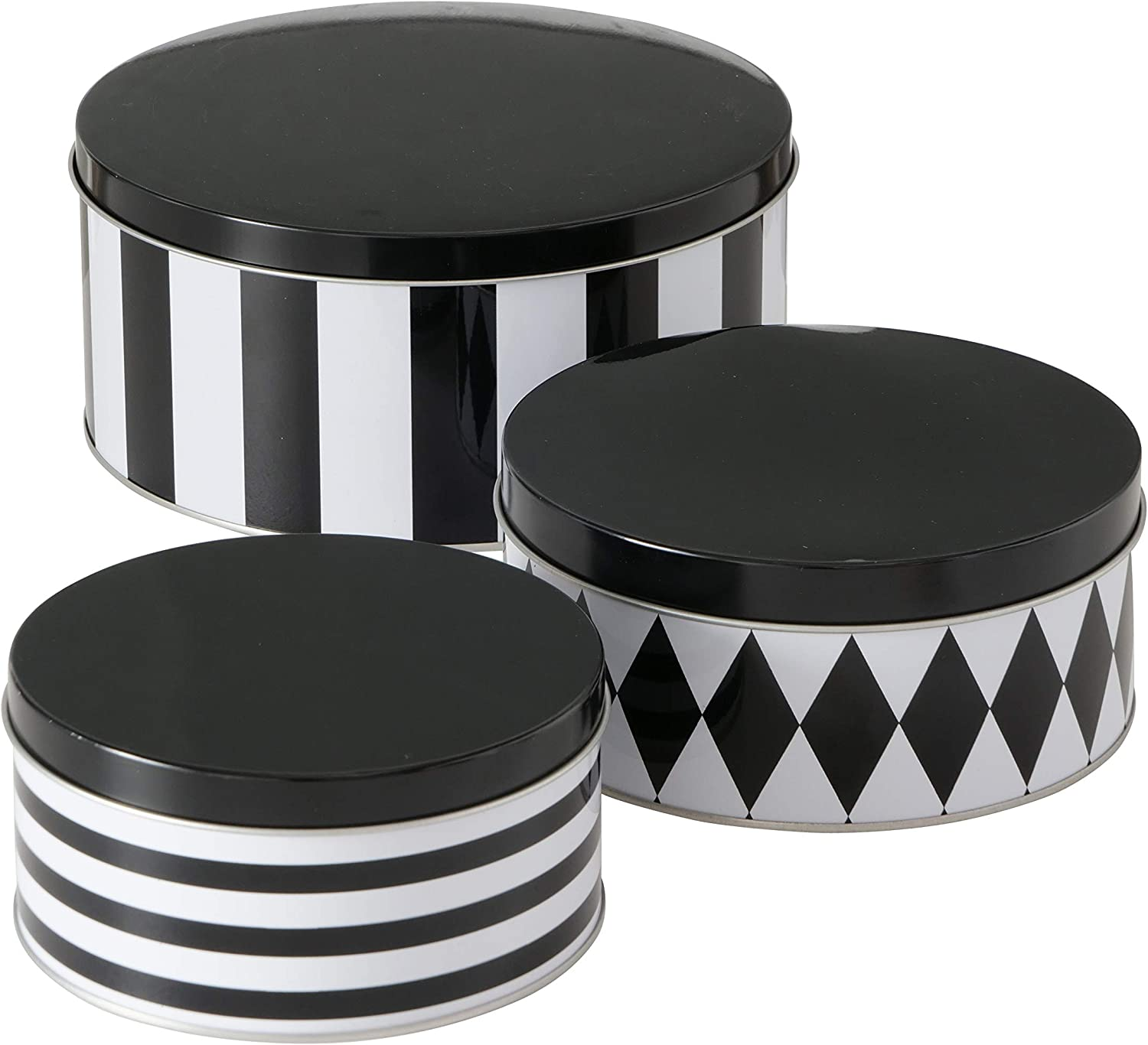 WHW Whole House Worlds 3 Piece Black and White Cookie Tins with Detachable Lids, Set of 3, Nesting, 7.75, 5.5, and 6.25 Inches, Food Safe, Metal, Storage and Organization