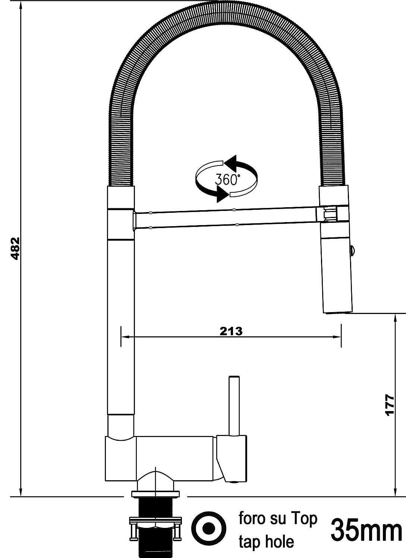 M/élangeur /évier robinet cuisine rabattable 6cm bec orientable pivotant et douchette 2 jets //// robinet sous fen/être //// Chrom/é