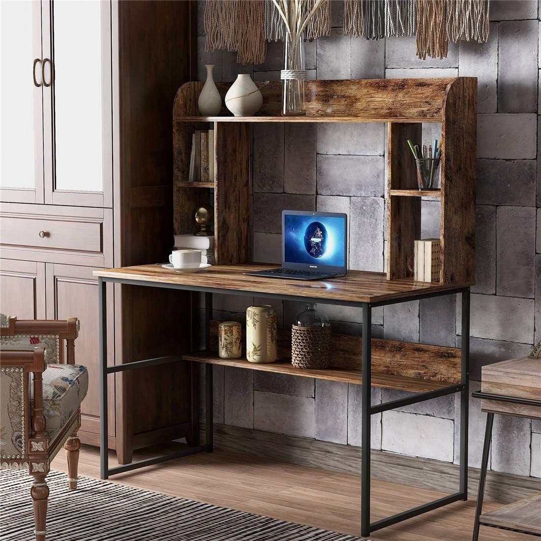 Amazon.com: 47.2''L- Home Office Computer Desk with Hutch Storage Shelves  Computer Table Metal Frame Wooden Desktop New Modern Design (47.2''L-  Rustic): Kitchen & Dining