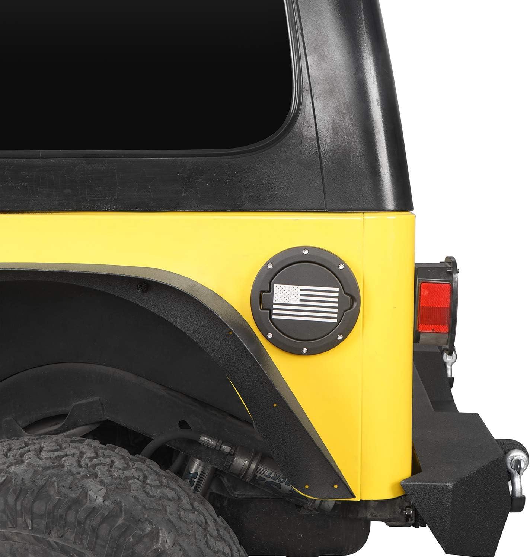 u-Box Jeep TJ Gas Cap Fuel Tank Cover w//Flag Logo for 1997-2006 Jeep Wrangler TJ /& LJ