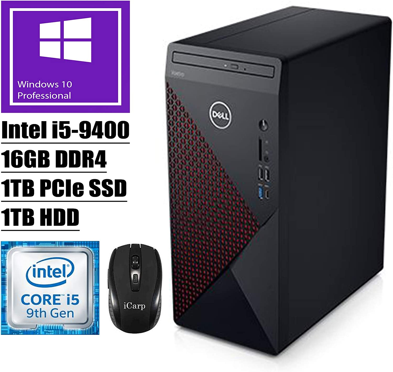 2020 Latest Dell Vostro 5090 5000 Small Business Desktop Computer 9th Gen Intel 6-Core i5-9400 (Beats i7-7700HQ) 16GB DDR4 1TB PCIe SSD 1TB HDD DVD WiFi HDMI USB-C Win 10 Pro + iCarp Wireless Mouse