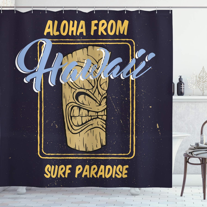 Amazon Com Ambesonne Tiki Bar Decor Shower Curtain Aloha From Hawaii Surf Paradise Retro Style Tiki Statue Print Fabric Bathroom Decor Set With Hooks 70 Long Indigo Apricot Light Blue Home Kitchen