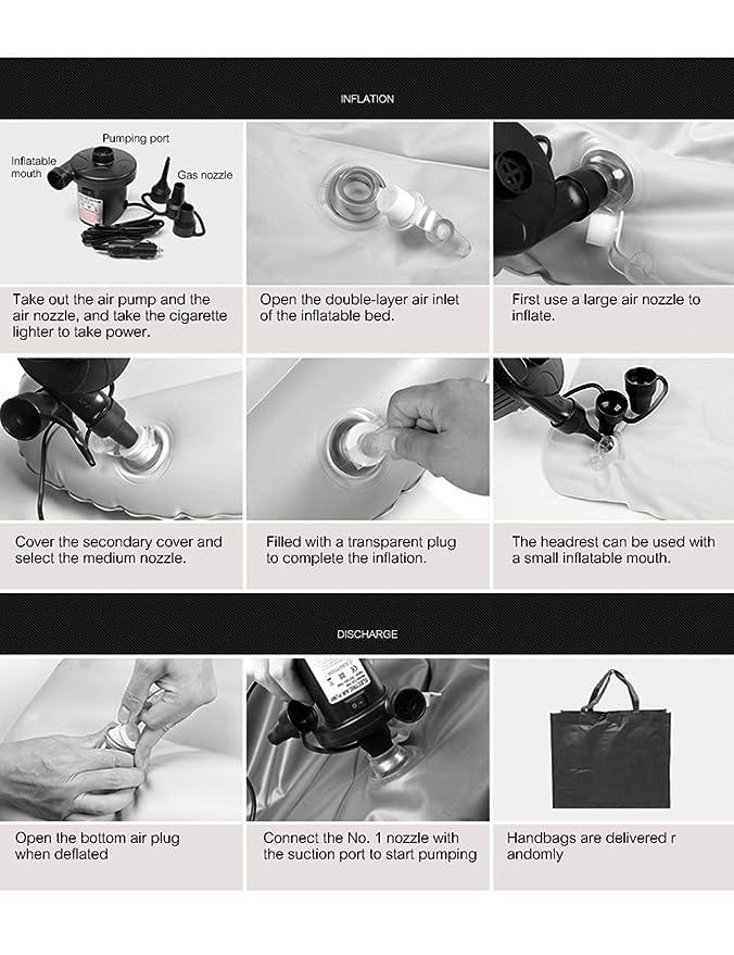besbomig Colchón Hinchable Multifuncional SUV Colchón de Aire Cama para Asiento Trasero de Coche - Aire Libre Hogar Camping Viaje Coche Inflatable Mattress ...