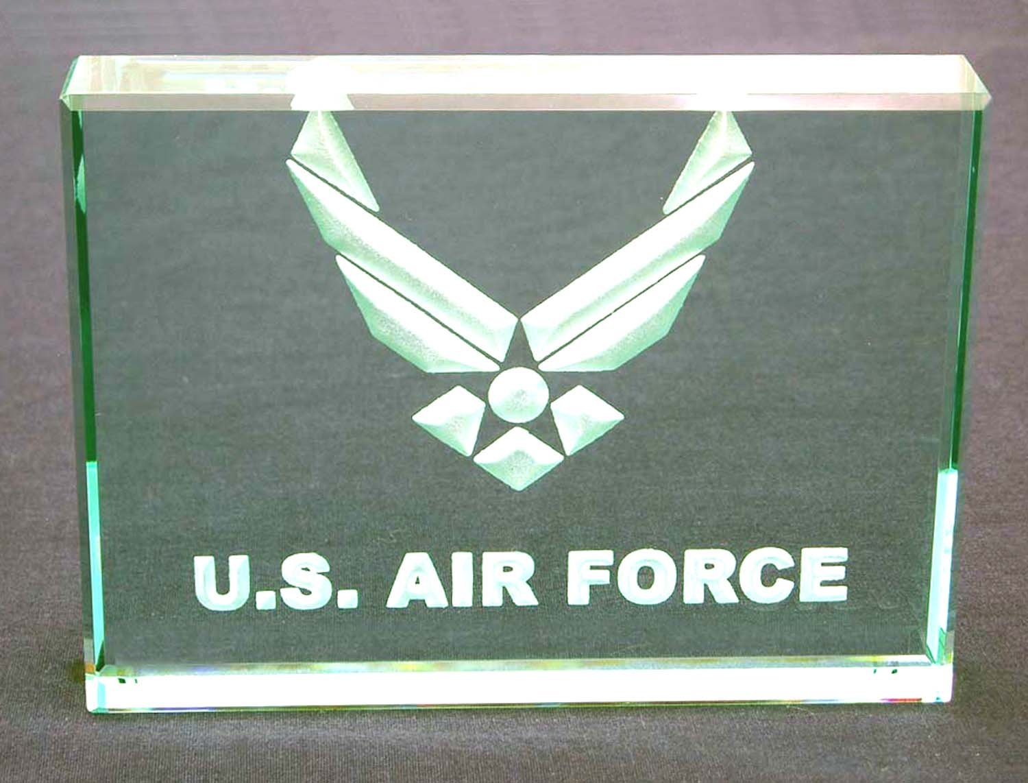 U.S. Air Force: Hand Carved Etched Glass Paperweight