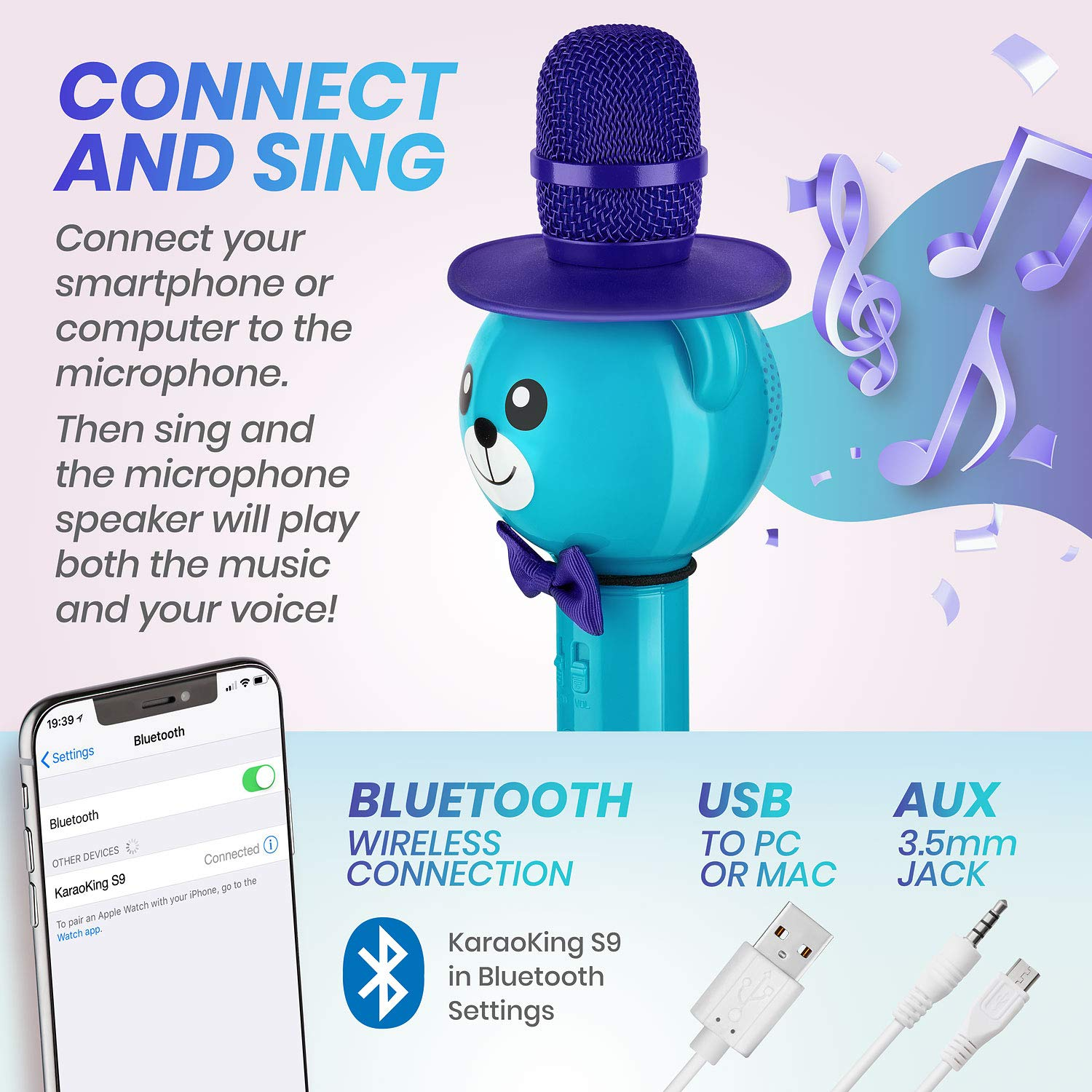 Wireless Karaoke Microphone for Kids - Bluetooth Mic Great for Solo Singing, KTV Parties, Magic Boys & Girls Christmas or Birthday Gifts - Portable Karaoke Machine for Kids Pop [Blue] by KaraoKing by KaraoKing (Image #4)