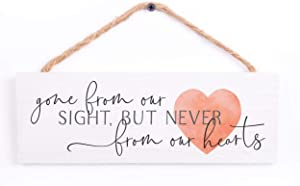 P. Graham Dunn Never Gone from Our Hearts Red Heart 10 x 3.38 Pine Wood Hanging String Sign