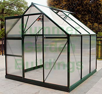 Phenomenal Summer Garden Buildings 6X6 Greenhouse Free Base Anchors Aluminium Polycarbonate Home Interior And Landscaping Dextoversignezvosmurscom
