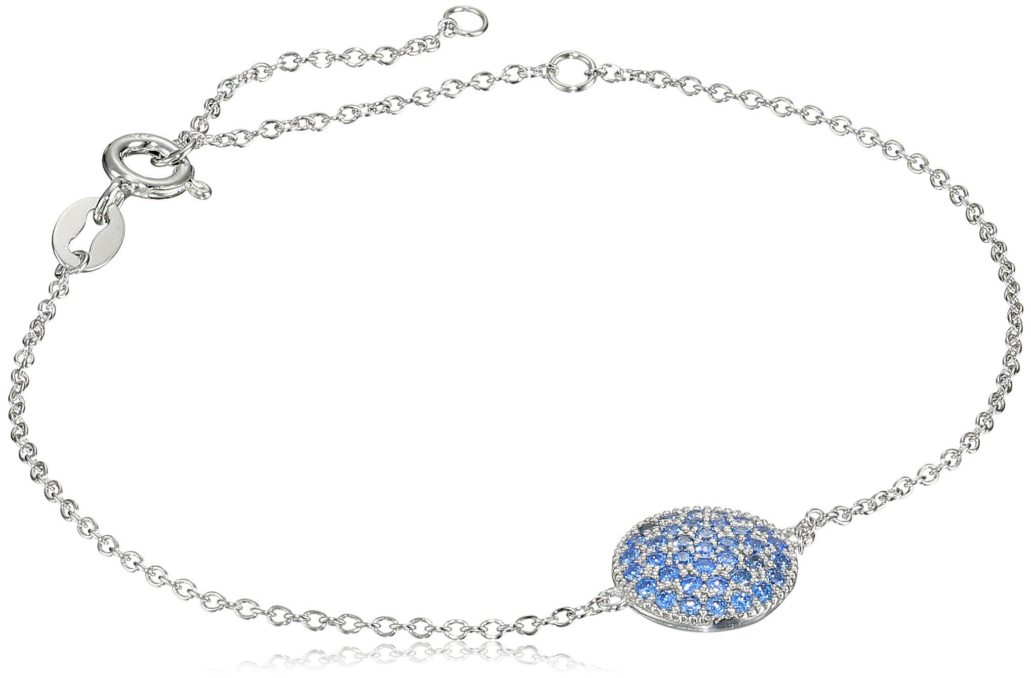 Myia Passiello Timeless Fancy Blue Pave Circle Charm Bracelet