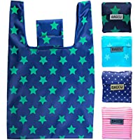 4 Pack Folding Reusable Shopping Bags Machine Washable Grocery Bags Large Capacity Durable Sturdy Lightweight Polyester…