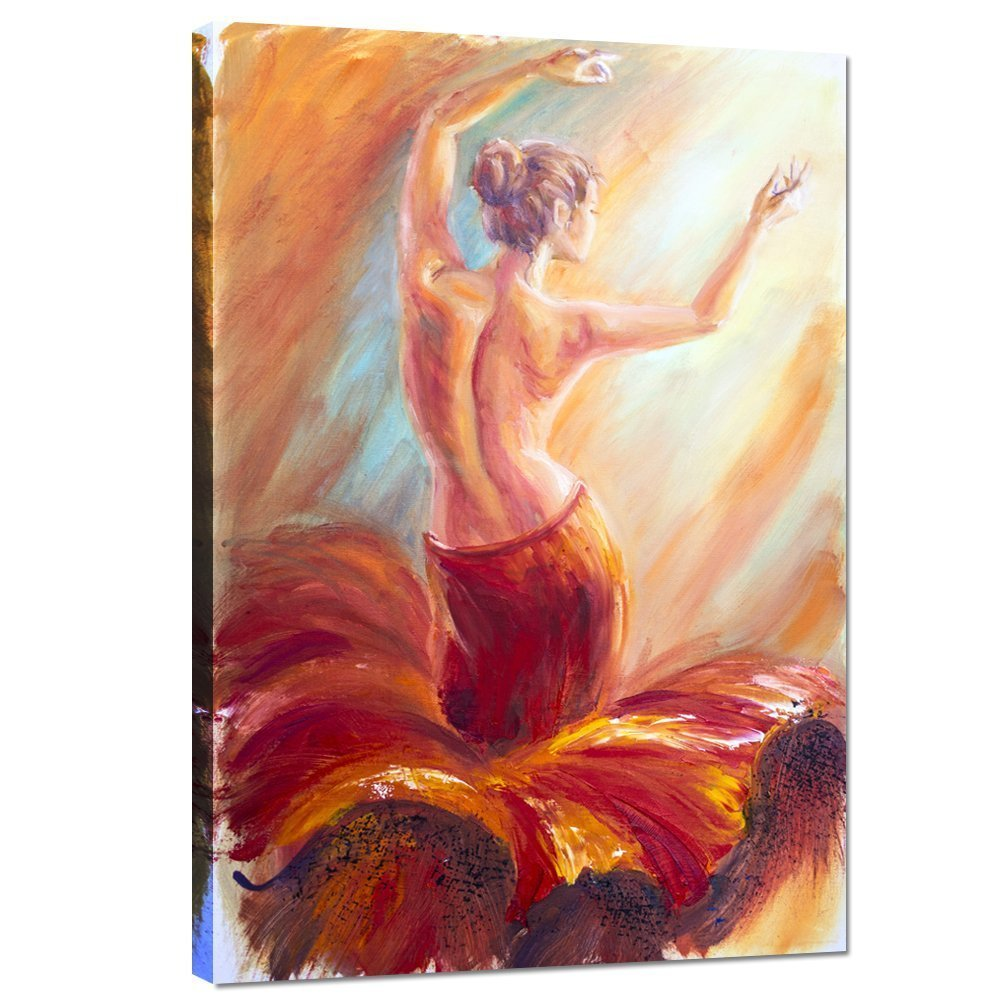 Live Art Decor - Framed Giclee Canvas Print,Beautiful Dancing Woman in Red Flying Skirt Painting Picture Canvas,Sexy Lady Wall Art Home Wall Decor Ready to Hang-24''x 36'' by Live Art Decor