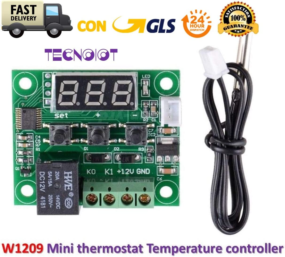 TECNOIOT W1209 Digital Cool Heat Temp Thermostat Thermometer Temperature Control DC12V