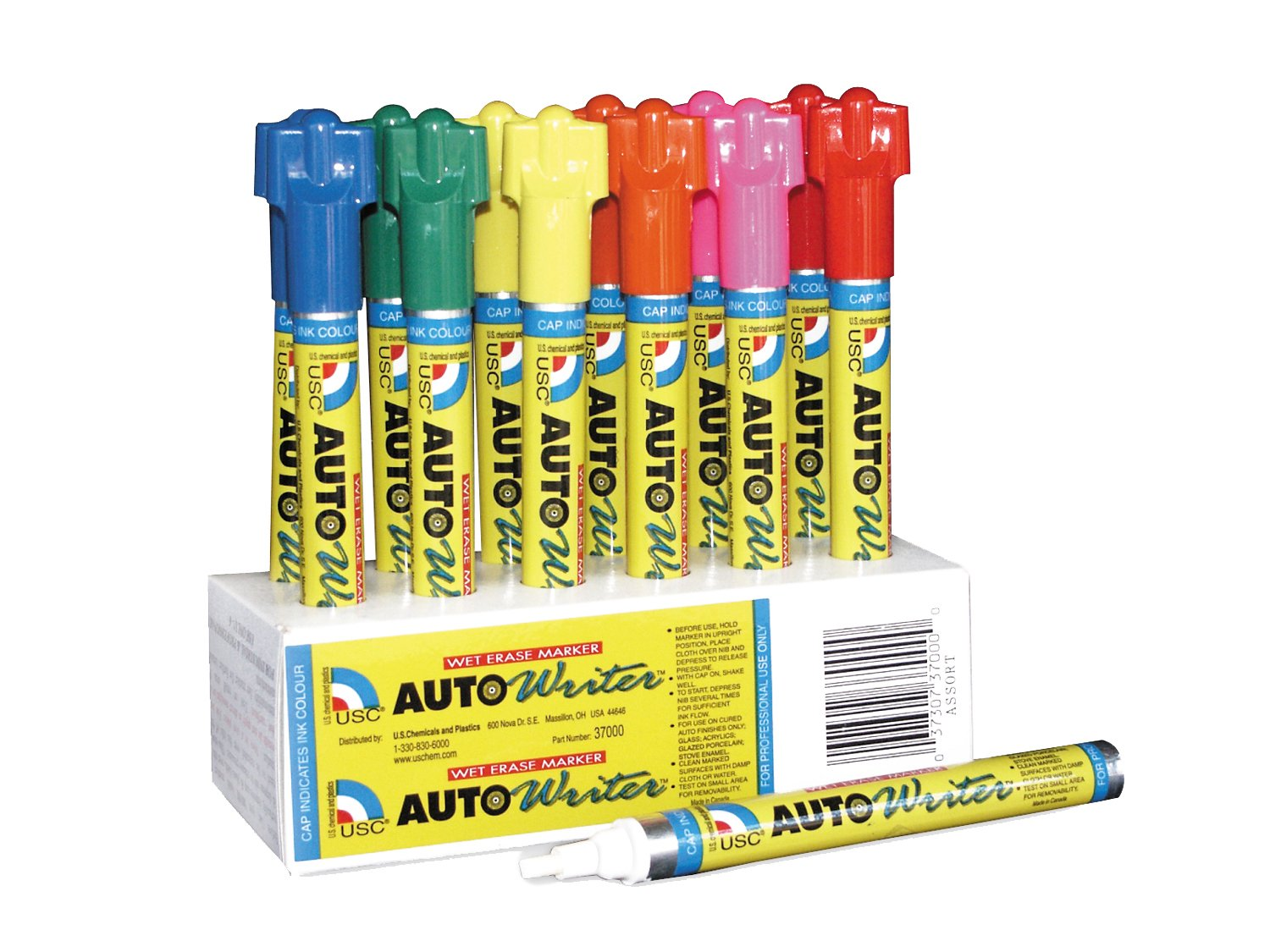Autowriter Markers Box of 12 Assorted Writing Pens by US Chemical