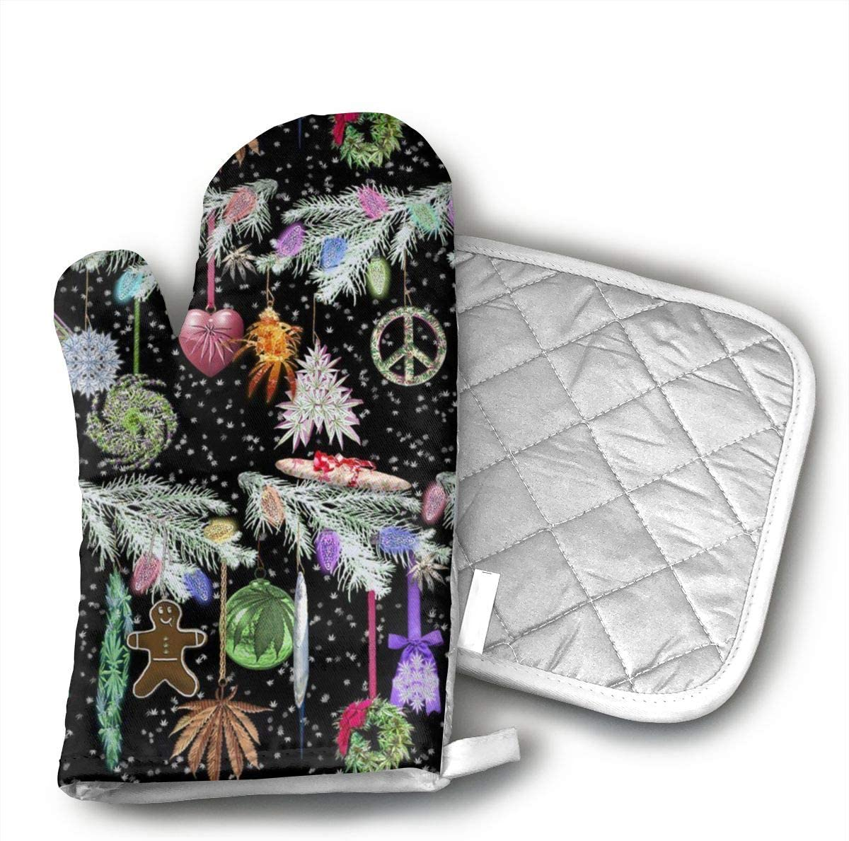 Wiqo9 Cannabis Xmas Branches Oven Mitts and Pot Holders Kitchen Mitten Cooking Gloves,Cooking, Baking, BBQ.
