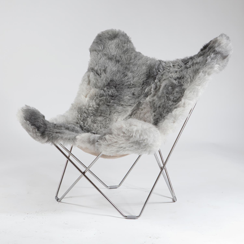 cuero Iceland Mariposa Butterfly Chair Sessel, grau Island Lammfell Gestell chrome matt