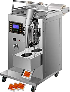 VEVOR Automatic Liquid Sealing Machine Food-Grade Stainless Steel Weighing Filling Machine 3-100 ml Liquid Quantitative Dispenser, with 20-40 Bags/Min Sauce Packing, Trilateral Sealing for Oil/Milk