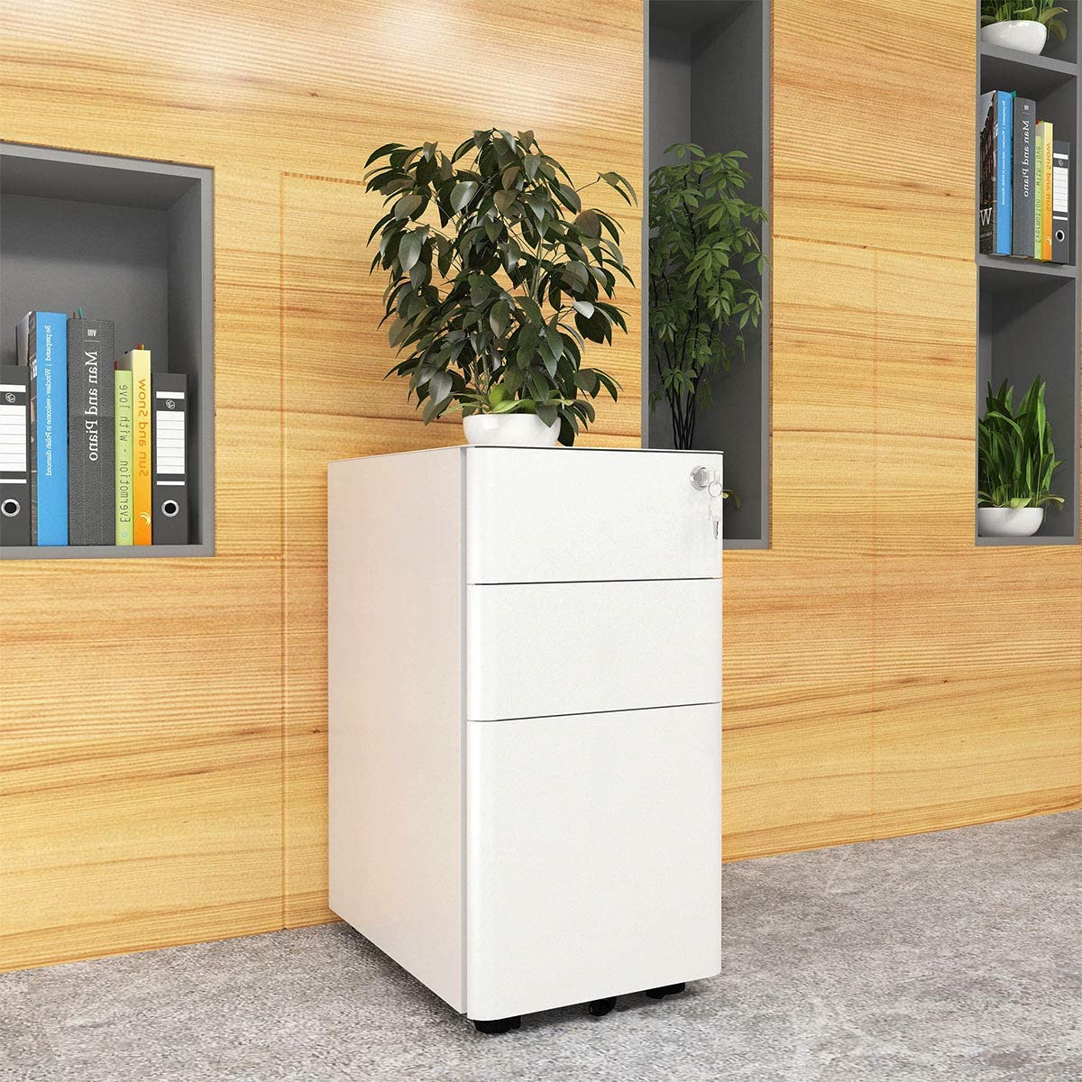 White Compact Slim Portable File Cabinet Pre-Built Office Storage Cabinet for A4//Letter//Legal YITAHOME 3-Drawer Metal Filing Cabinet Office Drawers with Keys