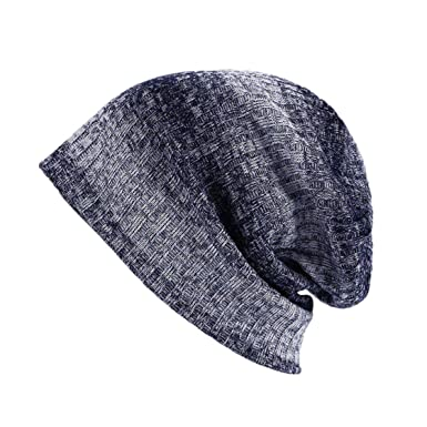 e5d7b473290 Image Unavailable. Image not available for. Color  Knitted Hat Winter for  Mens Warm Casual Acrylic Beanie Striped ...
