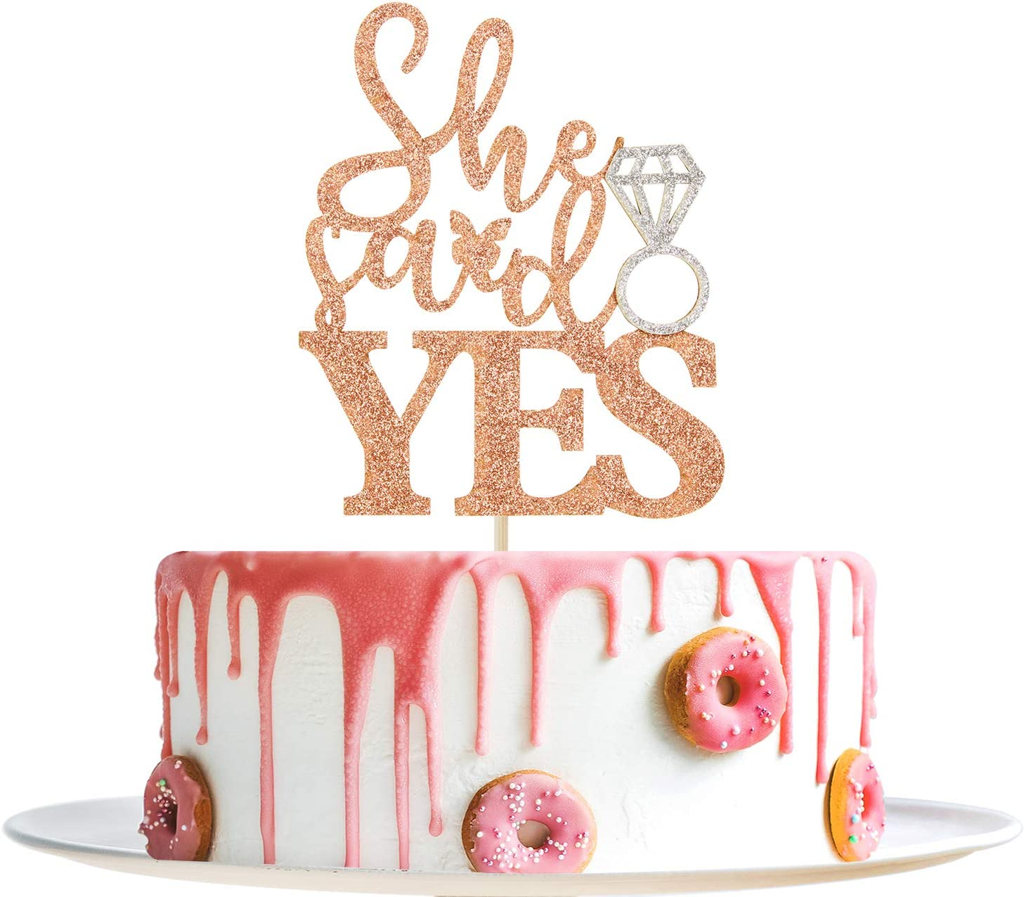 Rose Gold Glitter She Said Yes Cake Topper With Ring - Bridal Shower/Engagement/Wedding/Anniversary Party Decorations Supplies