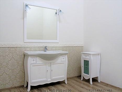 Mobile Per Bagno Porta Asciugamani.Le Chic Mobile Bagno Bianco Opaco Con Intaglio Con Mobiletto Porta