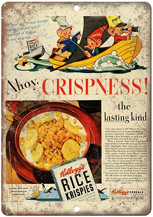 Shunry Kelloggs Rice Krispies Cereals Placa Cartel Vintage ...