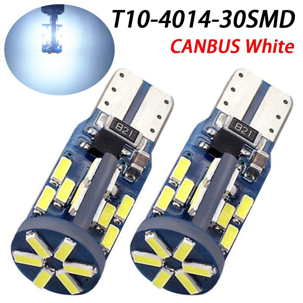 taben blanco T10/Bombilla LED 194/T10/LED Canbus 30-SMD 4014/coche luz LED Canbus Error libre matr/ícula de aparcamiento con LED Dome Mapa lateral marcador luz DC 12/V Pack de 2