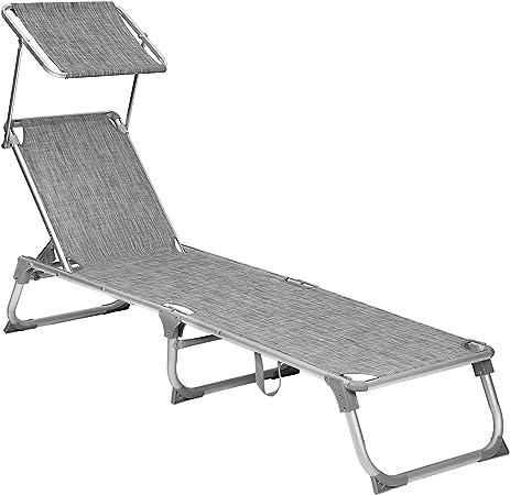 SONGMICS Chaise longue, Bain de soleil, Transat de relaxation, avec dossiers et parasol inclinables, pliable, léger, 55 x 193 x 31 cm, charge 150 kg,