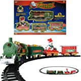 20 Piece Christmas Classic Train Tack with 5pcs train (Santa On a Sleigh) and 15 pcs Track / Railway Train Set with Lights & Holiday Music / Christmas Tree Decoration