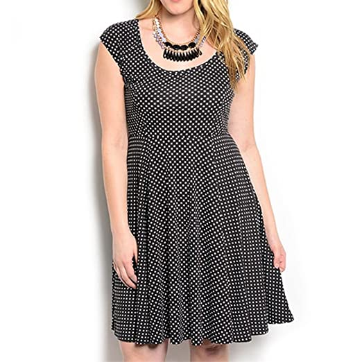 Red Dot Boutique 8512 - Plus Size Polka Dots Full Swing A-line Summer Dress  Black White