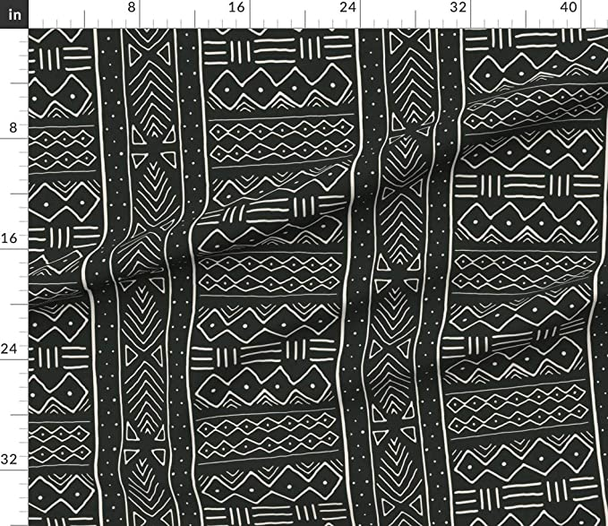 4abfec797169 Amazon.com: African Fabric - Mudcloth In Bone On Black Cotton & White  Tribal Decor Pillows Scarf Upholstery Print on Fabric by the Yard - Linen  Cotton ...