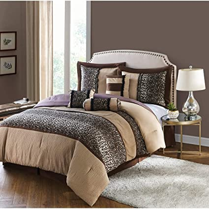 7 Piece Tan Black Leopard Print Comforter Queen Set, Coffee Brown Adult  Bedding Master Bedroom Modern Stylish Ruched Texture Pattern Cheetah Print  ...
