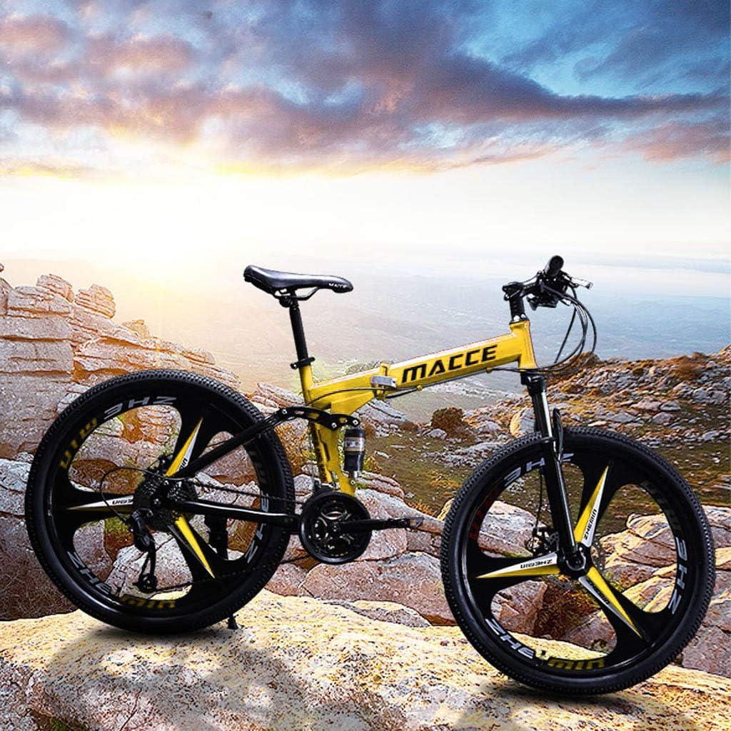 26IN Adult Folding Bike,Folding Mountain Bikes,Carbon Steel Mountain Bike 21 Speed Bicycle Full Suspension MTB