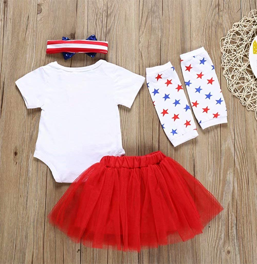 White My 1st Fourth of July Outfits for Baby Girl Short Sleeve Romper+Tulle Tutu Skirt with Bow+Bowknot Headband+Leg Warmer Size 18-24 Months//Tag100