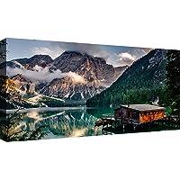 Canvashop Quadri Moderni Lago di Braies cm 100x50 Stampa su Tela XXL Quadro Moderno Natura Montagna