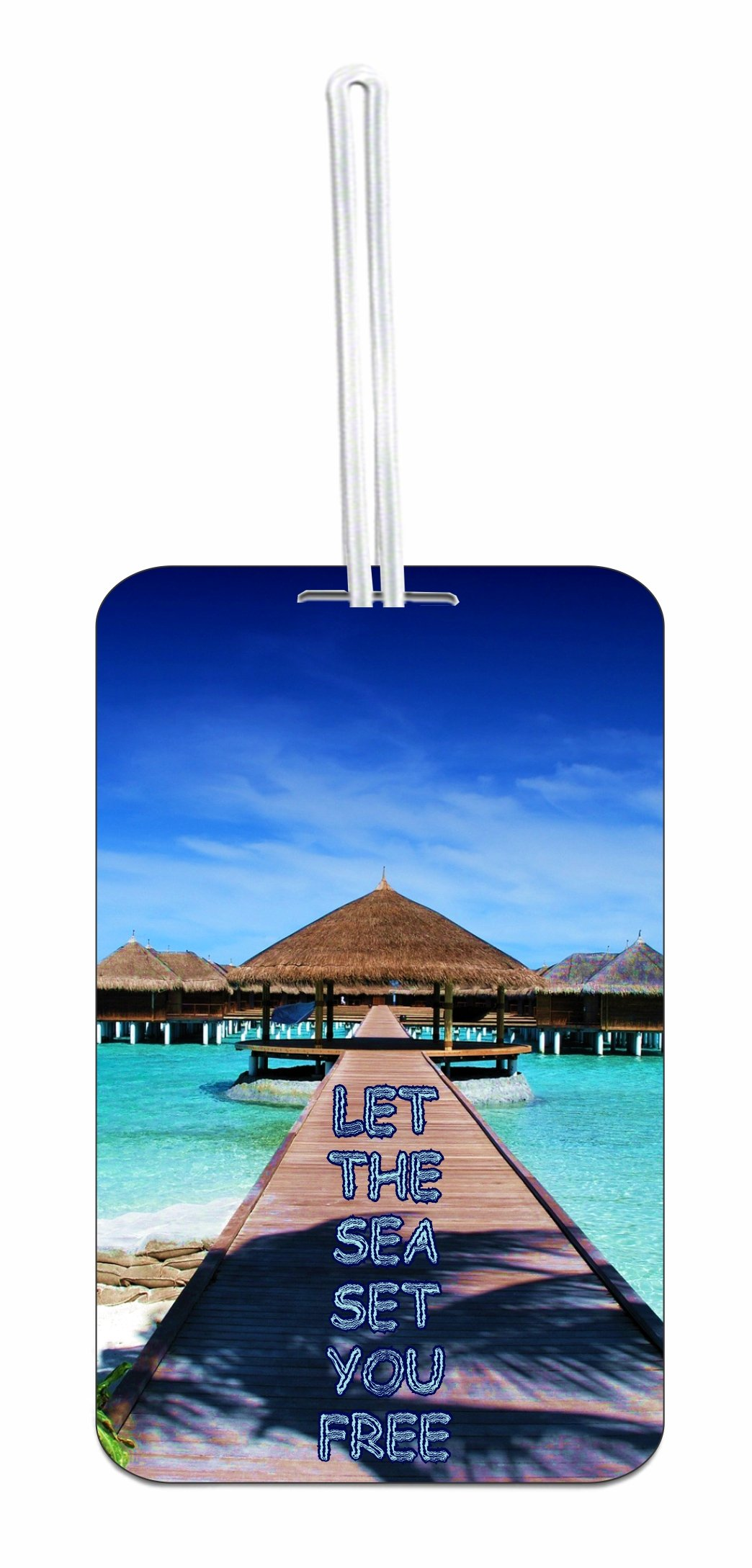 Sea Quote Hard Plastic Luggage Tag with Personalized Back
