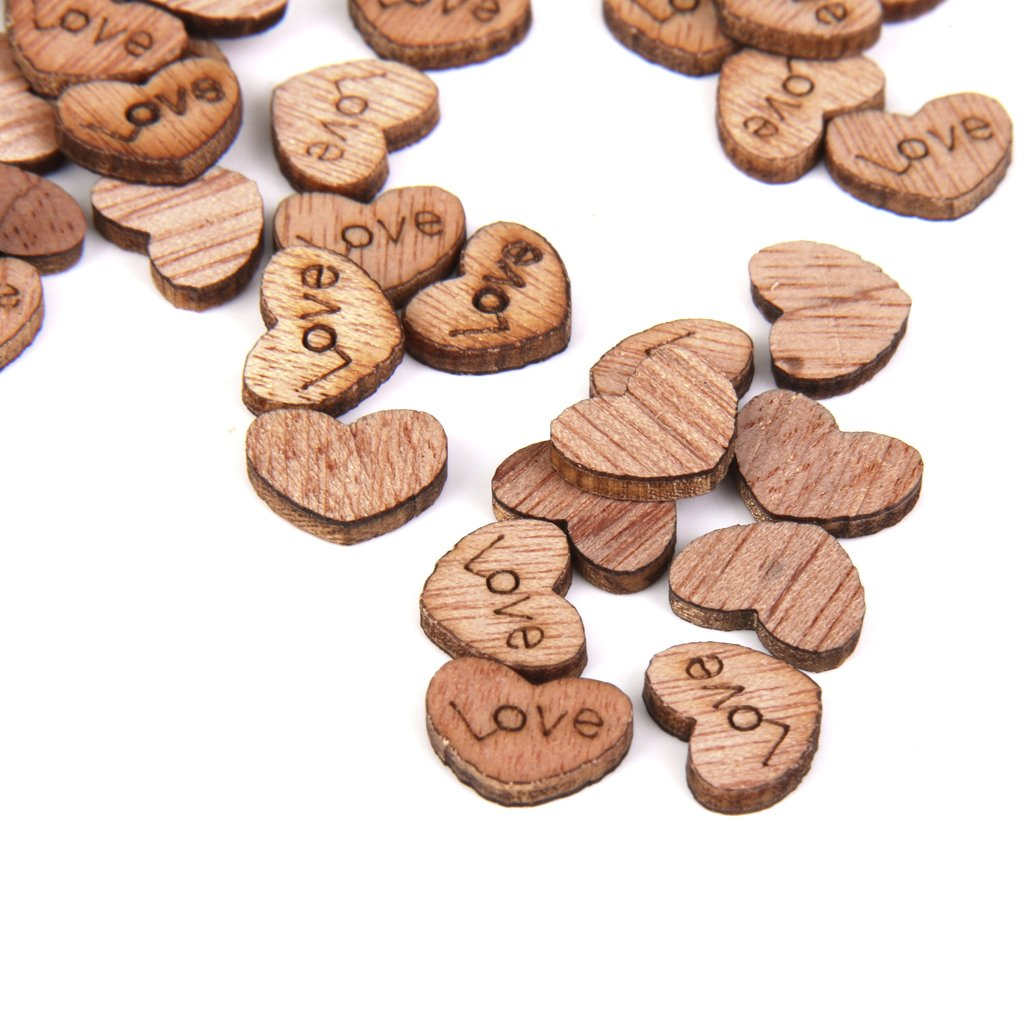 SM SunniMix 100pcs Rustic Small Wooden Love Heart Wedding Table Scatter Decoration Wood Crafts 12mm