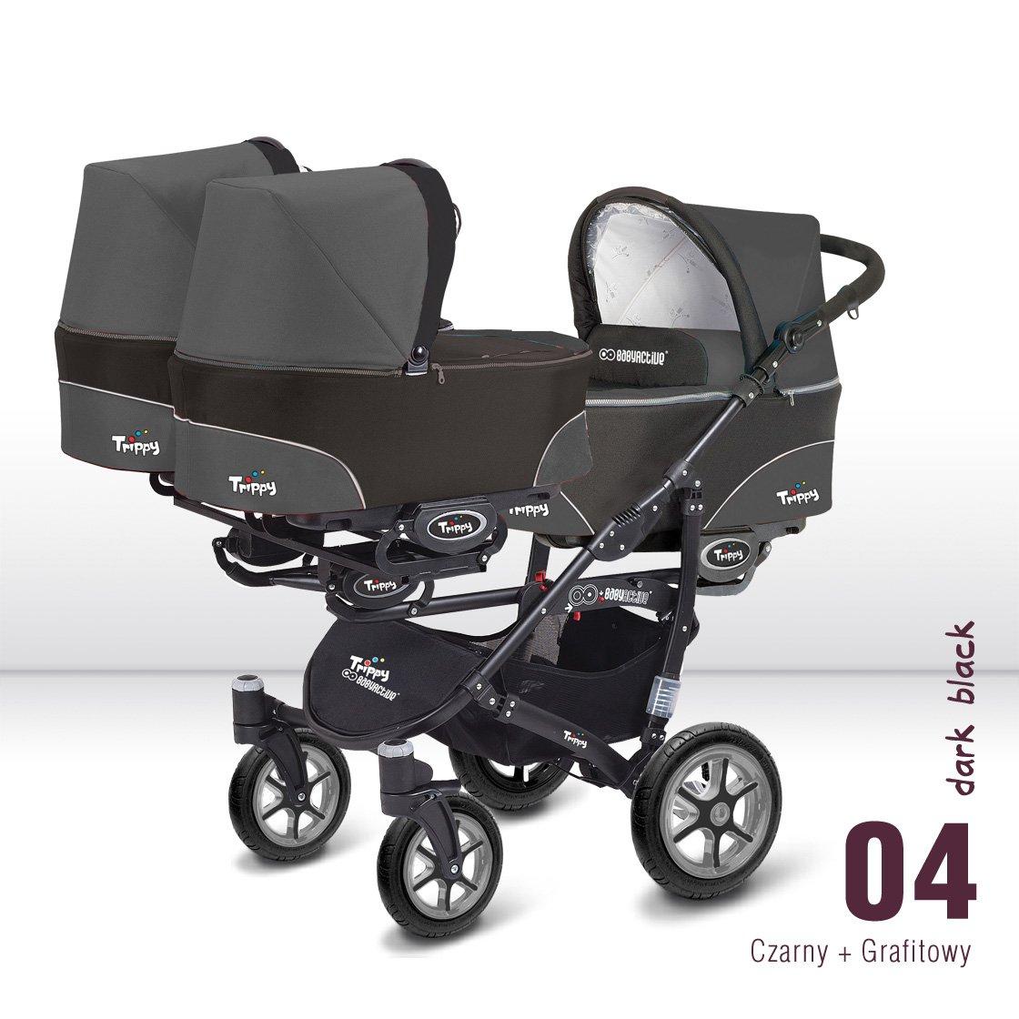 Carro trillizos. 3 capazos + 3 sillas + 3 portabebes grupo 0. Color gris+negro. Babyactive