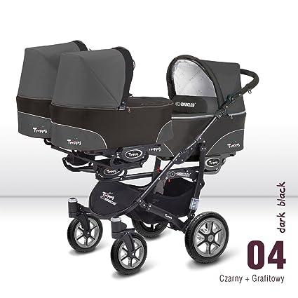 Carro trillizos. 3 capazos + 3 sillas + 3 portabebes grupo 0. Color gris