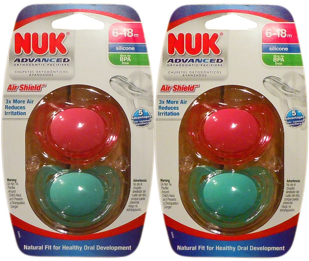 4 NUK Binky Air Shield Orthodontic Pacifier ,Girl Colors, 6-18 Months- Green & Pink