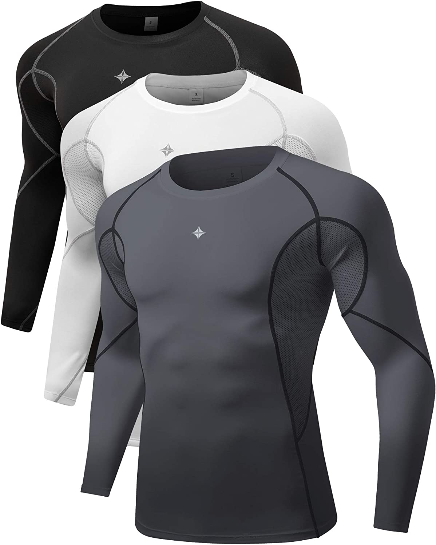 Milin Naco 3 Pack Mens Cool Dry Baselayer Tops Long Sleeve Compression Shirts