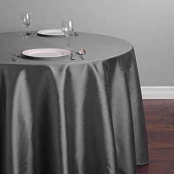 Charmant LinenTablecloth Round Shantung Silk Tablecloth, 108u0026quot;, Charcoal