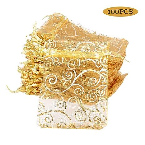 BUONDAC 100pcs Bolsas Bolsitas Organza 8X 11 cm Saquitos Arroz Regalo Joyas Caramelo Dulces Recuerdo Favores Detalles para Boda Fiesta Bautizo con ...