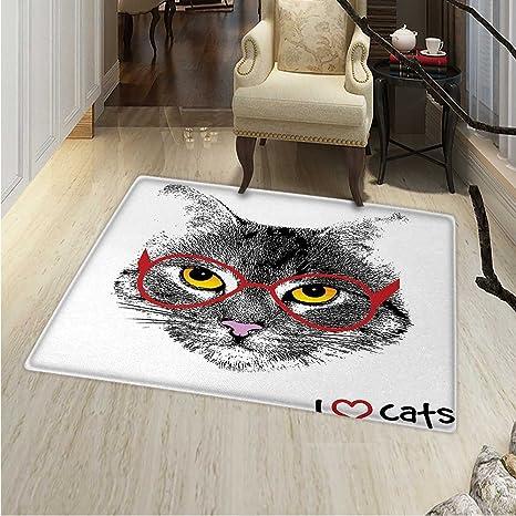 Amazon.com: Alfombra de área de gato escocesa recta Kitty ...