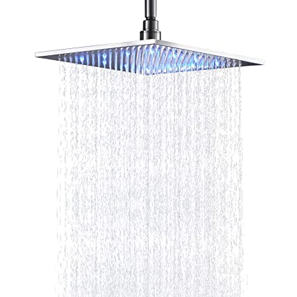 Brushed Nickel Rain Shower Head.Senlesen Bathroom Rainfall Shower Head 12 Inch Led Colors Square Overhead Replacement Head Brushed Nickel