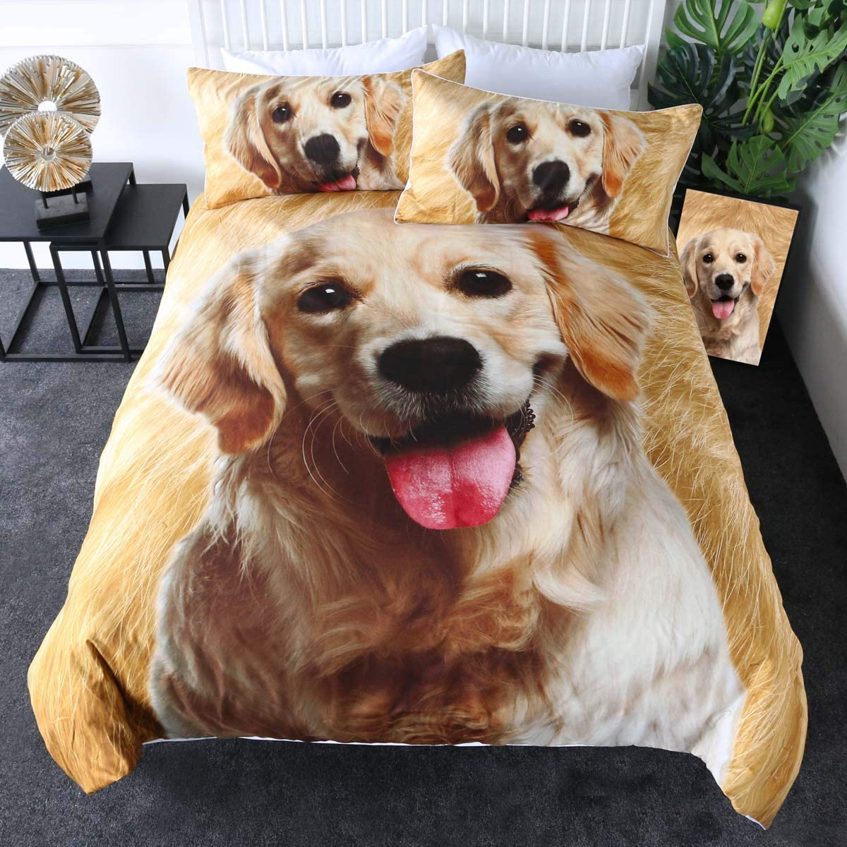 Sleepwish Golden Retriever Bedding Puppy Dog Comforter Cover 3D Pet Themed Animal Lover Duvet Cover Set 3 Piece Brown Tan and White (Twin)