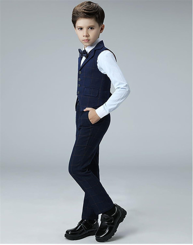 Amazon.com: Yanlu 4 Piece Kids Boys Formal Vest Suits Sets Plaid ...