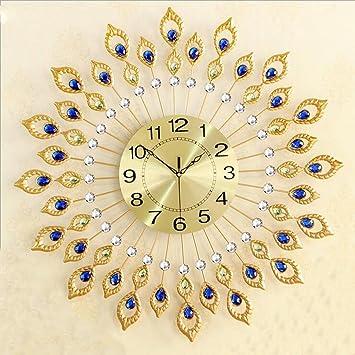 Amazon.com: Ysayc Wall Clock Golden Peacock Wall Clock European ...