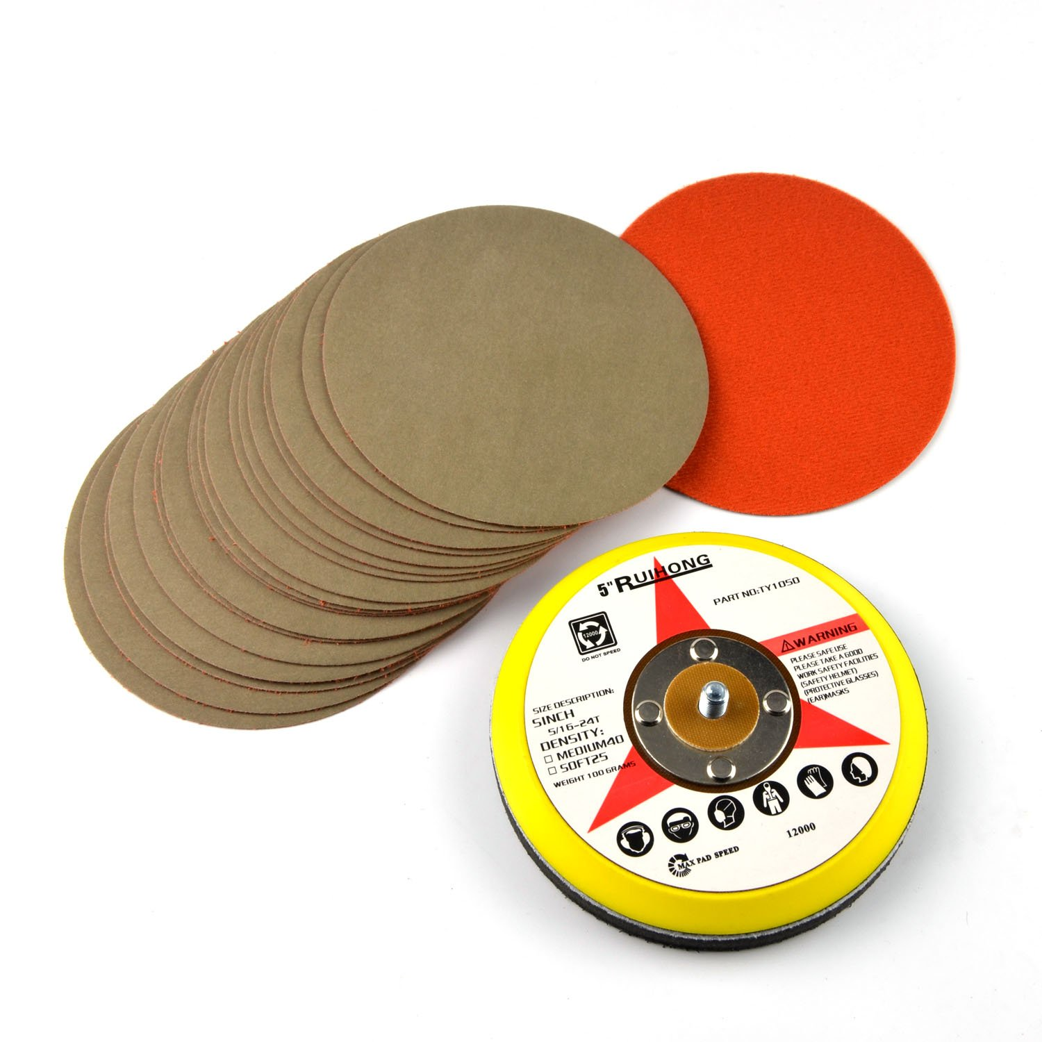 5-Inch 7000 Grit Aluminum Oxide Wet/Dry Hook and Loop Sanding Discs with a 5/16-24 Inch Thread Backing Pad + Soft Sponge Buffering Pad, 20-Pack Jinhua Puxian e-Commerce Co. Ltd